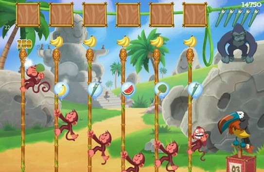 玩家将在游戏中操控下落的气球,以让小猴子们爬到竹竿的顶部,摘下香蕉
