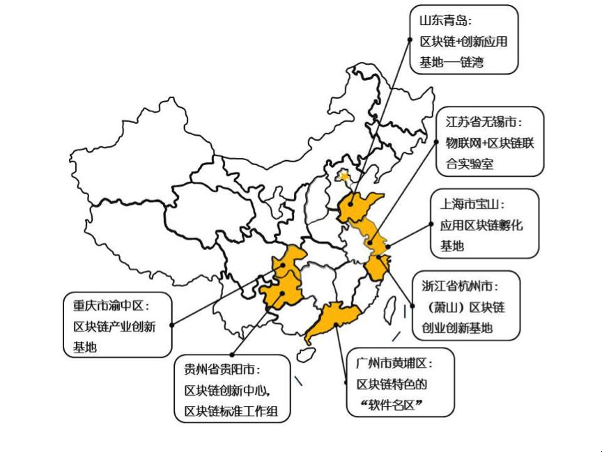 图1 国内区块链产业热点区域分布图