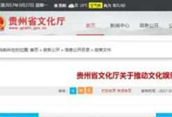 贵州省发布8条意见推动文娱行业转型升级
