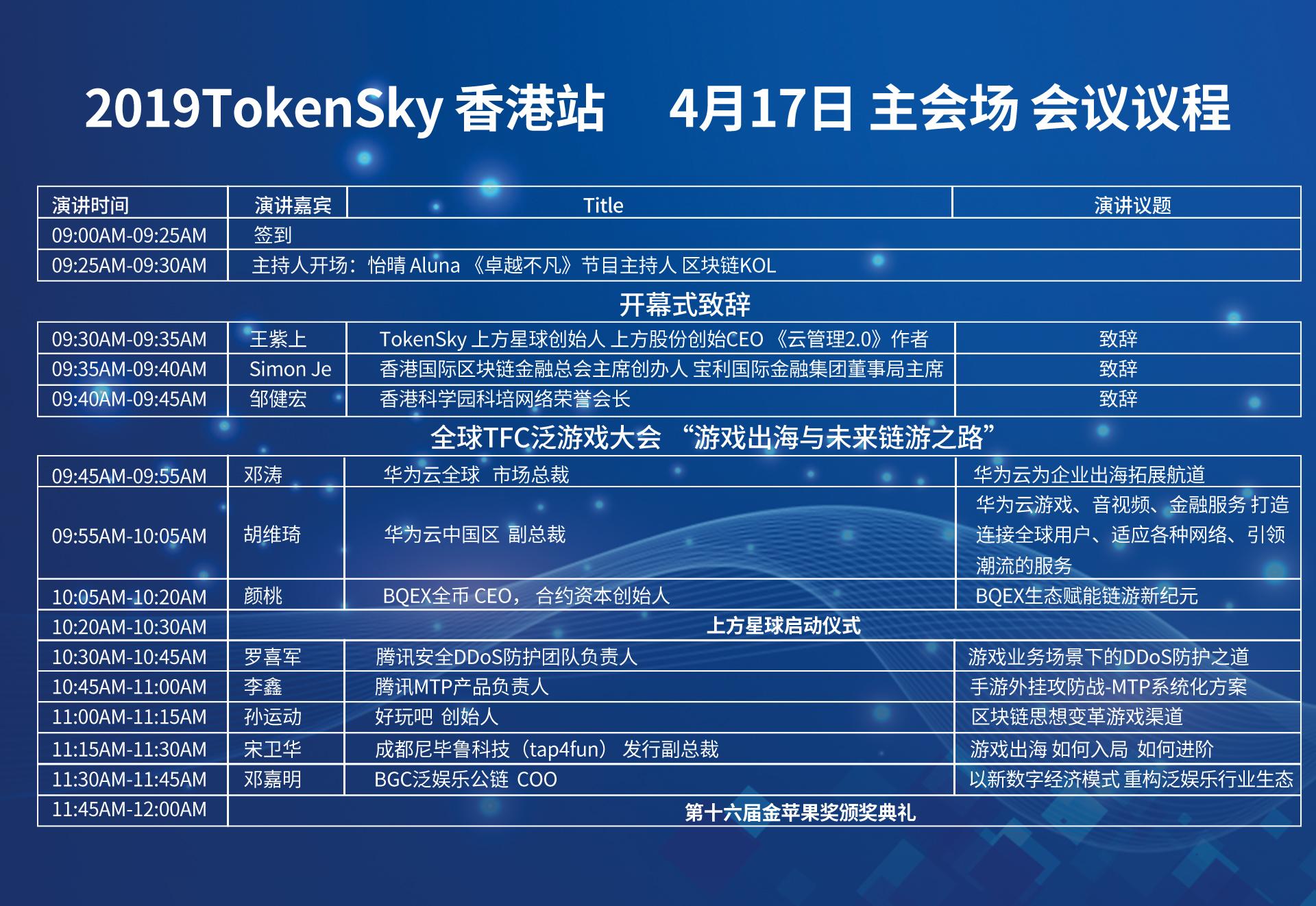 4月17-18日TokenSky香港站官方議程大曝光 100多位國際嘉賓分享